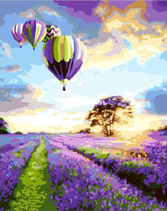Ballooning above Lavender Fields - Paint by Numbers Kit for Adults