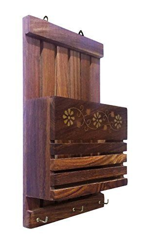 Craftsman Wooden Wall Hanging Letter Organiser/Rack With Key Hooks (Letter And Paper Holder): Amazon.co.uk: Kitchen & Home