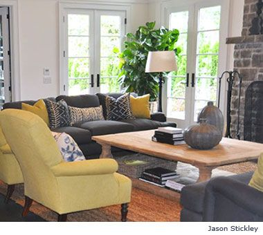 Grey wings and gray couches on pinterest for Dark yellow living room