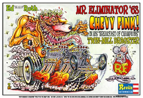 Johnny Ace RARE Poster! RAT FINK Big Daddy ROTH Monster CHEVY TWIN DRAGSTER OOP! #JohnnyAceStudiosRothStudios