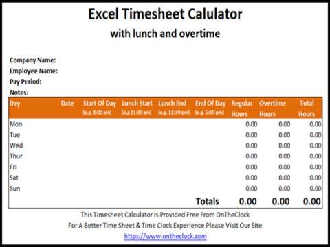 Time Card Calculator Without Lunch Calculator App Company Names