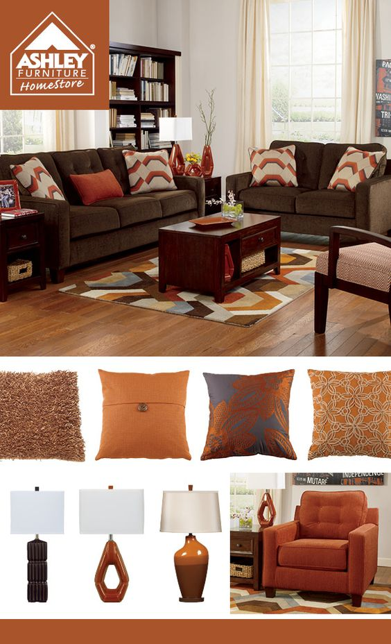 Rustic orange chocolate brown living room pinterest orange living rooms chocolate brown for Red and brown living room furniture