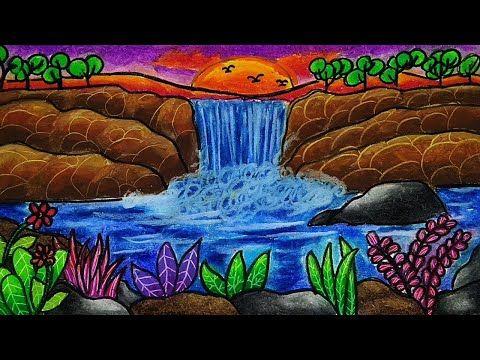 Cara Menggambar Dan Mewarnai Pemandangan Air Terjun Yang Bagus Dan Mudah Gradasi Warna Oil Pastel Youtube Gambar Pemandangan Cara Menggambar