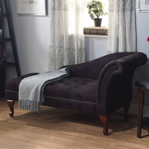Black Microfiber Chaise Lounge Chair Storage Bench : chaise lounge storage bench - Sectionals, Sofas & Couches
