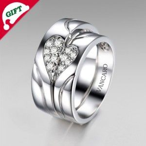 Exquisite His&Hers 925 Sterling Silver With White Gold Plated Micro Pave Cubic Zirconia Heart Couple Rings