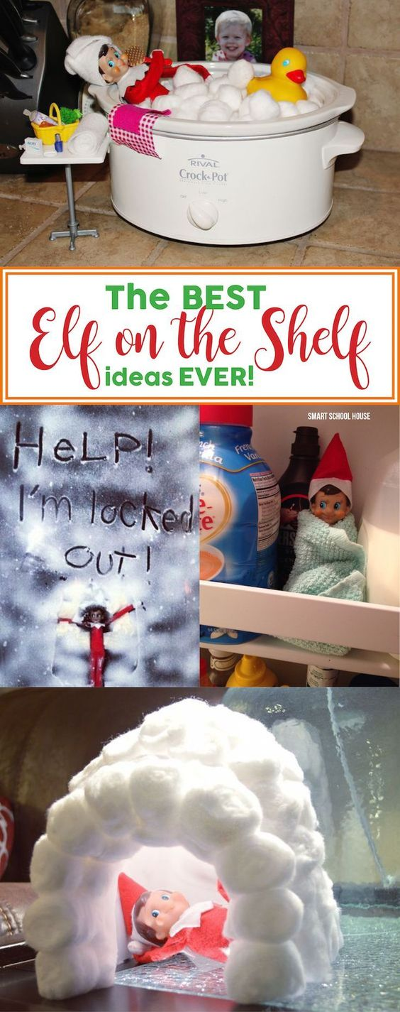 The BEST Elf on the Shelf ideas EVER!! Don't worry about frantically figuring out what to do with the elf tonight. Check out these easy and smart Elf on the Shelf ideas instead.: