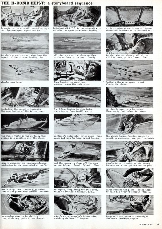 Storyboard for the James Bond movie u0027Thunderballu0027, published in - magazine storyboard