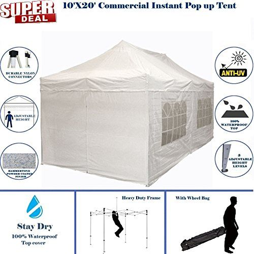 Best Camping Tents 10x20 Pop Up 6 Wall Canopy Party Tent Gazebo Ez White F Model Upgraded Frame By Delta Can Party Tent Best Tents For Camping Tent Camping