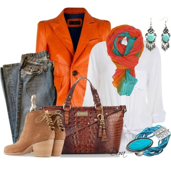 """Giacca in pelle arancione"" by doradabrowska on Polyvore"