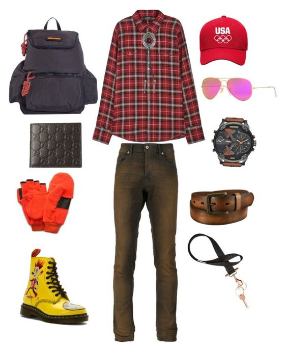 """Not in Kansas anymore!"" by cacagasp on Polyvore featuring Diesel, Dsquared2, Dr. Martens, Ray-Ban, QuietWear, Givenchy, Bølo, Gucci, Uniqlo e men's fashion"