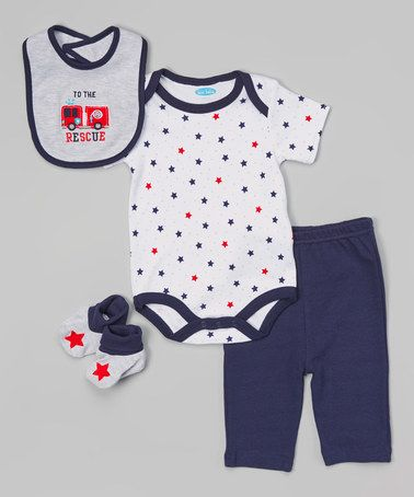This Blue 'To the Rescue' Bodysuit Set is perfect! #zulilyfind $6