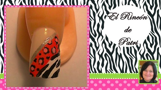 Diseño de uñas con estampado animal combinado- El rincón de Patri- Combined animal print Nail Art . Sigue todos nuestros diseños de decoración de uñas en http://www.rincondepatri.com