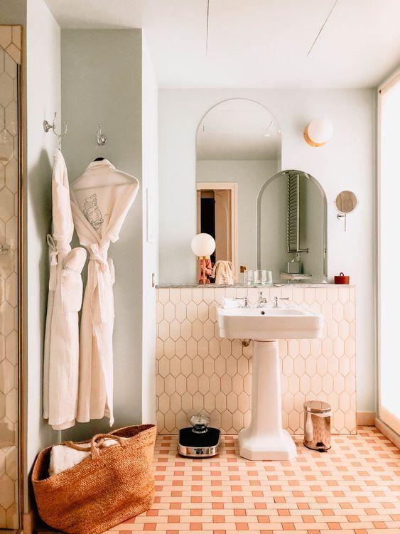 Fresh Retro Feel Badezimmer Innenausstattung Badezimmer Design