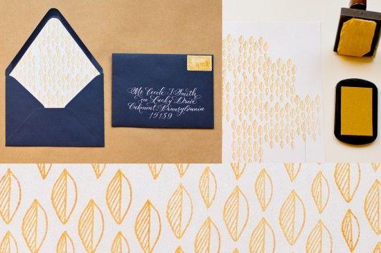 stamped envelope liners DIY by Antiquaria