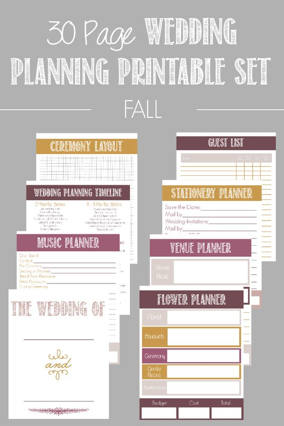 30 Page Wedding Planning Printable Set (available in 4 color - printable wedding checklist