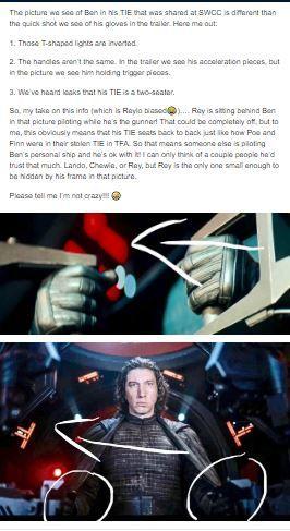 Kylo Isn T Piloting His Tie In The Picture Star Wars Theories Star Wars Humor Star Wars Geek