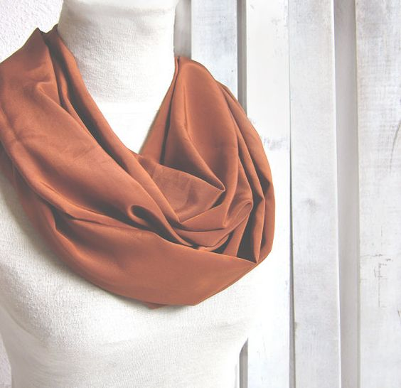 Silk Infinity Scarf Circle Scarf  in Alloy by whitewolfsclouds, $18.00