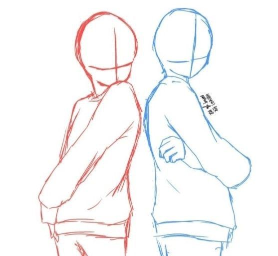 Red Girl Blue Other Girl Drawings Of Friends Drawing Templates Drawing Base