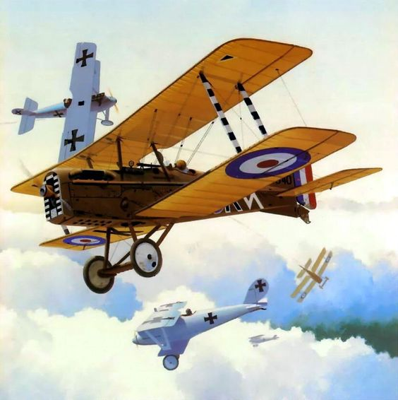 SE5a in combat with several Pfalz DIIIs