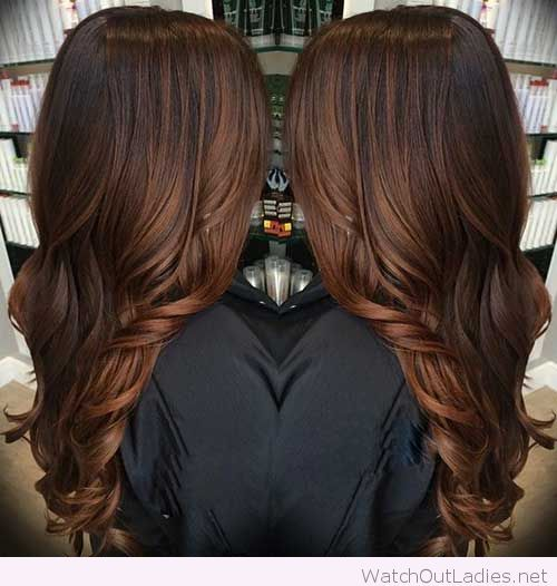 Deep rich chocolate brown haircolor with hot curls: