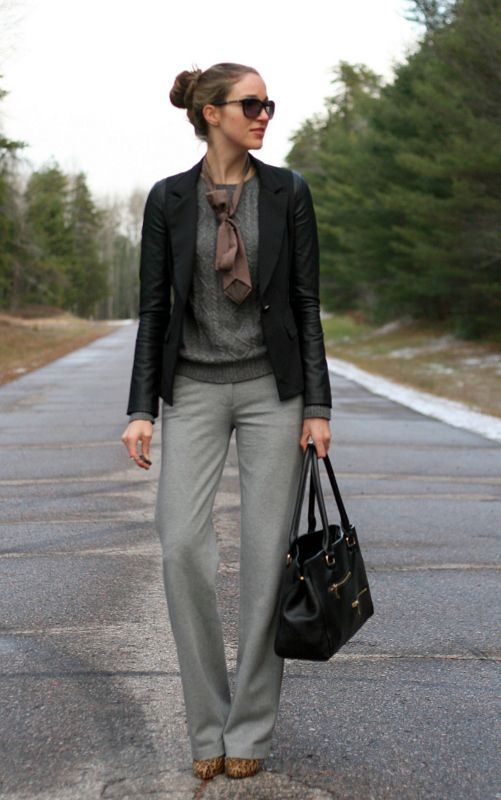 Ponte dress pants and a faux leather blazer | The office, Canada ...