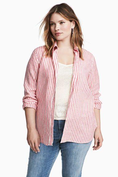 H&M+ Chemise en lin - Rouge/blanc/rayé - FEMME | H&M FR 1