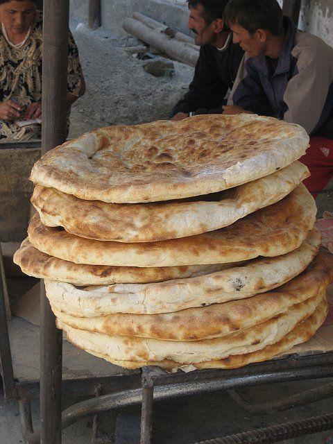 Bread in the market - Tajikistan: