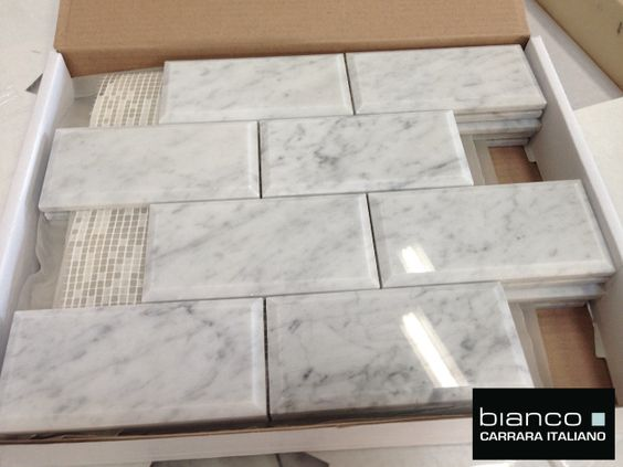 "Italian Marble Carrara Bianco Polished 3x6"" Beveled Marble Tile for $8.95 a Square Foot attached to a mesh mosaic for ease of installation, (prices valid thru 2015)."