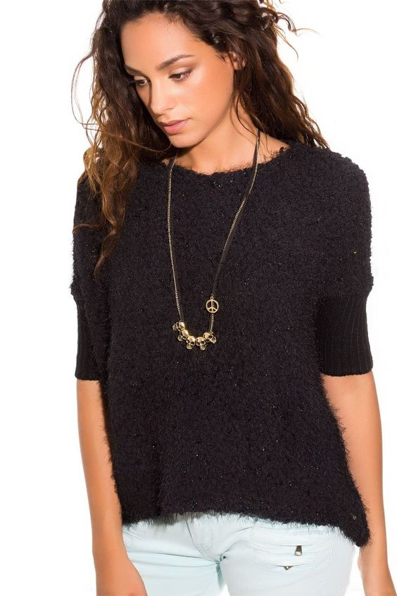 Black lurex chunky knit sweater