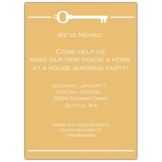 Key House Warming Invitations