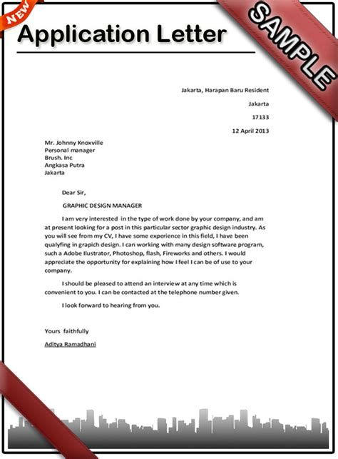 Application Letter Template Writing