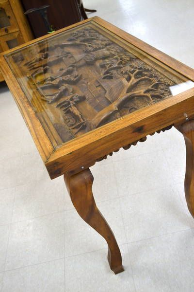 Foyer Table With Detailed Carved Top Under Glass Depicting