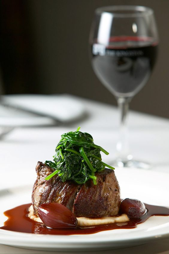Lay and Wheeler would recommend drinking the 2012 Morgon, Côte du Py, Château des Jacques, Domaine Louis Jadot with this mouthwatering filet steak https://www.laywheeler.com/home/wineshop/product.aspx?prodid=0712036A.    This beautiful Beaujolais has an inviting and complex fragrance of wild cherries and damsons with almond, spice & game. It is smooth, yet rich and textural with great balance.