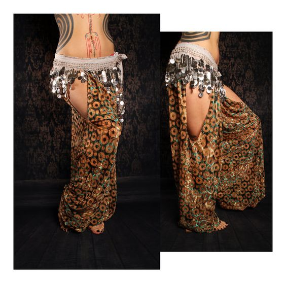 Tribal Harem Pants cut out leg. Belly Dance Costume by CrudeThings