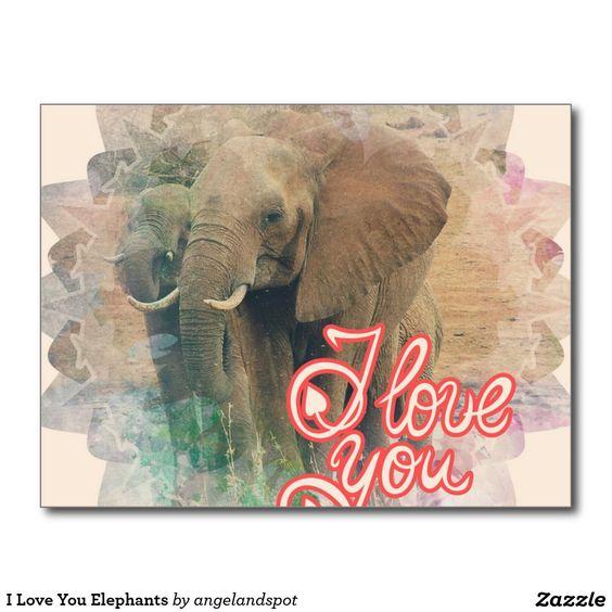 I Love You Elephants Postcard