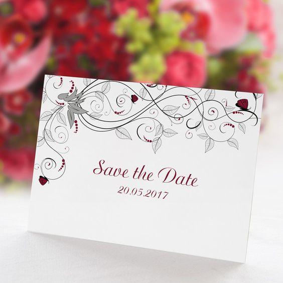 Save the Date Karte Hochzeit Liebesranken rot: https://www.meine-hochzeitsdeko.de/save-the-date-karte-hochzeit-liebesranken