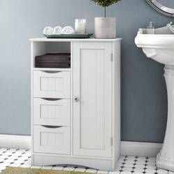 "Three Posts Ellsworth 25.5"" W x 31.25"" H x 18"" D Free-Standing Bathroom Cabinet Reviews | Wayfair"