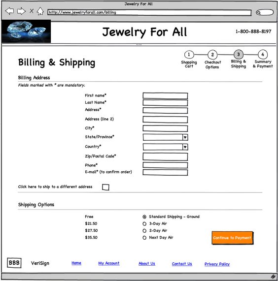 Sample Web page mock-up. This is the 3rd step in the checkout ...