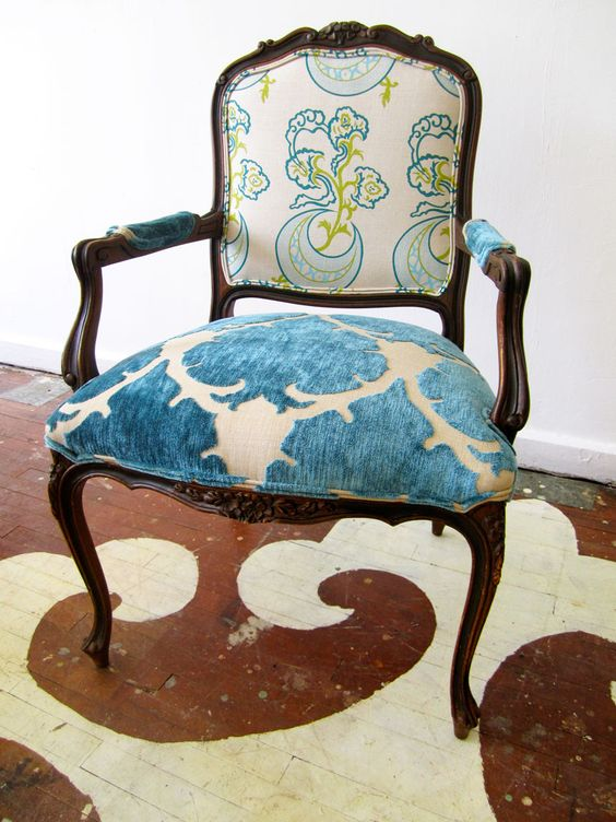 We re-did this sweet bergere chair in Katie Ridder and Mokum. The chair has beautiful, delicate lines and carvings.
