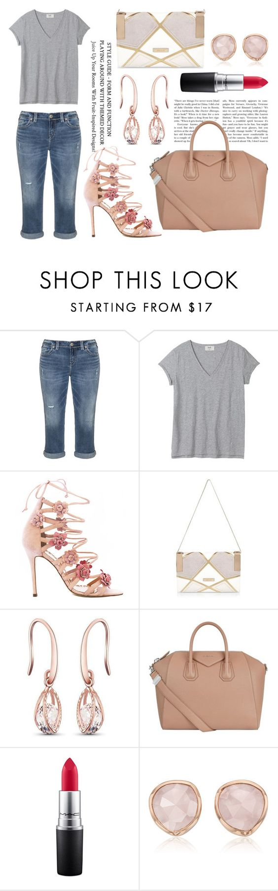 """""""coming in soon"""" by soidi-illis ❤ liked on Polyvore featuring Silver Jeans Co., Marchesa, River Island, Givenchy, MAC Cosmetics and Monica Vinader"""