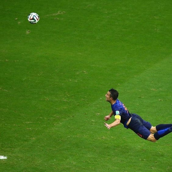 """From Mashable:""""The Dutch striker scored the most impressive goal of the tournament (so far) with a diving header against Spain on June 13. The dazzling noggin-first shot helped the Netherlands secure a 5-1 win and a place for van Persie in Internet Photoshop history."""""""