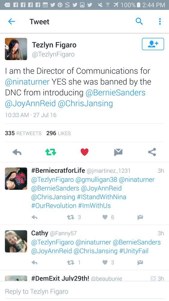 """."""" ' @TezlynFigaro: @ninaturner @JoyAnnReid @ChrisJansing @BernieSanders -"""