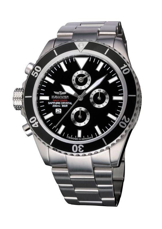 Haemmer Men's NDC-01 Navy Diver Rotating Bezel Chronograph Steel Watch