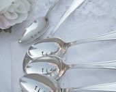 tea spoons  hand stamped silverplate  tea party favors set