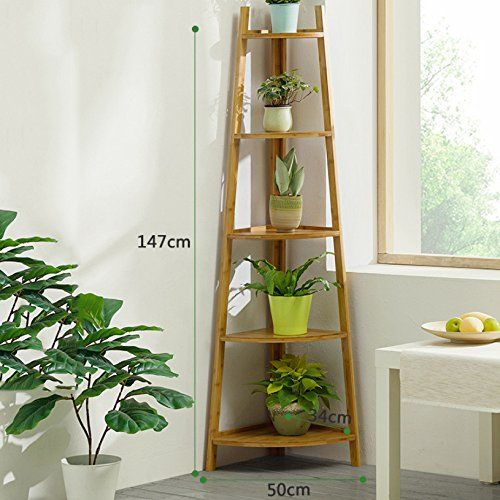 Zhxuanxuan Flower Stand 5 Tier Ladder Wooden Garden Display Shelf
