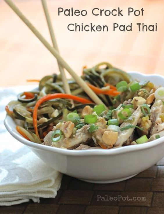 Paleo slow cooker chicken pad thai with veggie noodles for Chicken recipes in crock pot healthy