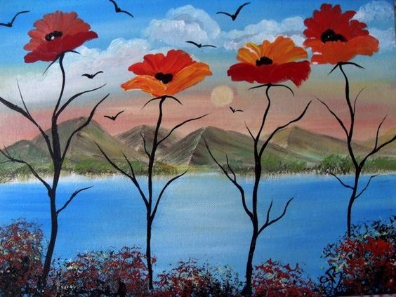 Poppies Acrylic Paintings Scenic Surreal  Red Flowers By The Sea, Wall Art  £35.00  Poppies Surreal Fantasy Art, Wall Painting for the home, painted on primed canvas board with artist quality Acrylic paints by Daler Rowney, the board measures 16 x 12 inch and will fit a standard frame that you can buy easily from the high street.  Designed by Sue, January 2013