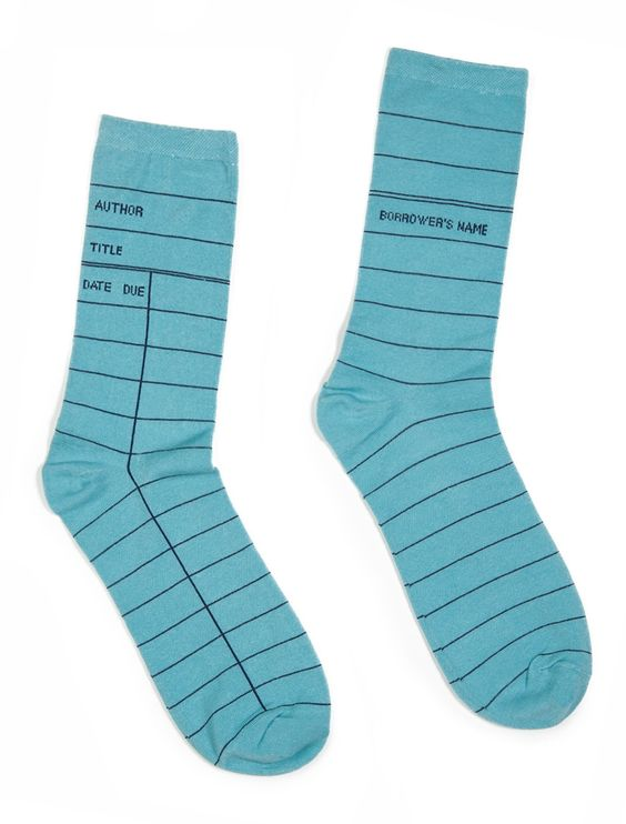 Library Card blue socks