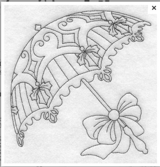 Parasol embroidery - could be used all year round if the holly were changed to a flower.