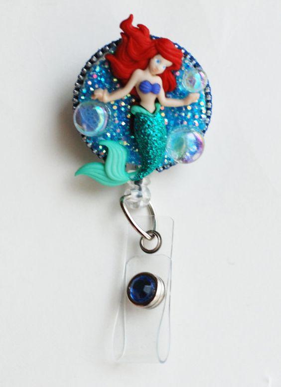 Sweet Little Mermaid ID Badge Reel Retractable by ZipperedHeart